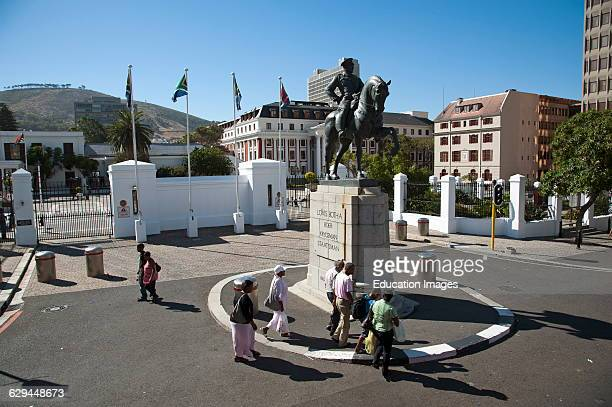 Parliament buildings Cape Town South Africa On horse back a statue of Lovis Botha
