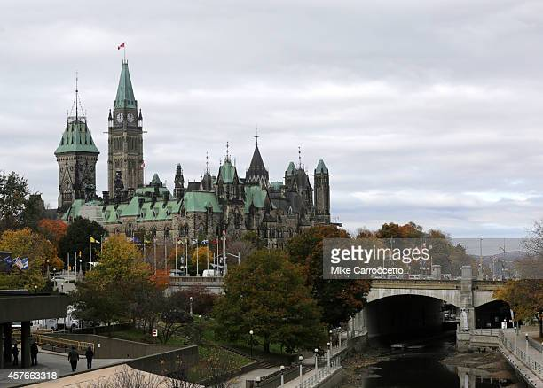 Parliament Hill and National War Memorial site as pictured from Mackenzie King Bridge in downtown October 22 2014 in Ottawa Canada Officials are...