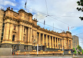 Parliament House in Melbourne, Australia. The seat of the Parliament of Victoria