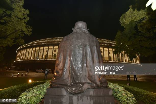 Parliament illuminated ahead of the historic GST special session on June 30 2017 in New Delhi India With a gong sound at midnight in Parliament's...