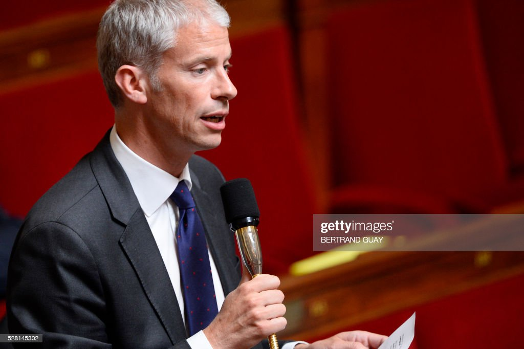 UMP Parliament member and Coulommiers' Mayor Franck Riester speaks during a session of questions to the Government on May 4, 2016 at the French National Assembly in Paris. / AFP / BERTRAND