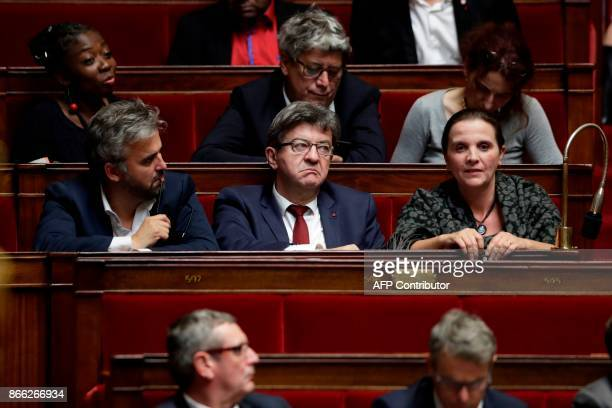 Parliament members of the French leftist La France Insoumise party Alexis Corbiere LFI leader and parliamentary group president JeanLuc Melenchon...