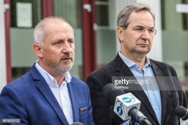 Slawomir Neumann Stanislaw Lamczyk and Marshal of the Pomorskie Voivodeship Mieczyslaw Struk during the press conference are seen in Gdansk Poland on...