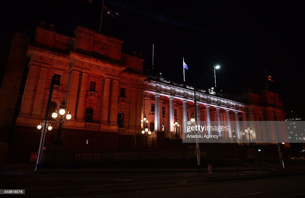 Parliament of Victoria building lit up in the colours of the Turkish national flag after Australian Prime Minister Malcolm Turnbull and Australian Foreign Minister Julie Bishop's press conference on Istanbul Ataturk International Airport terror attacks, in Melbourne, Australia on June 29, 2016.