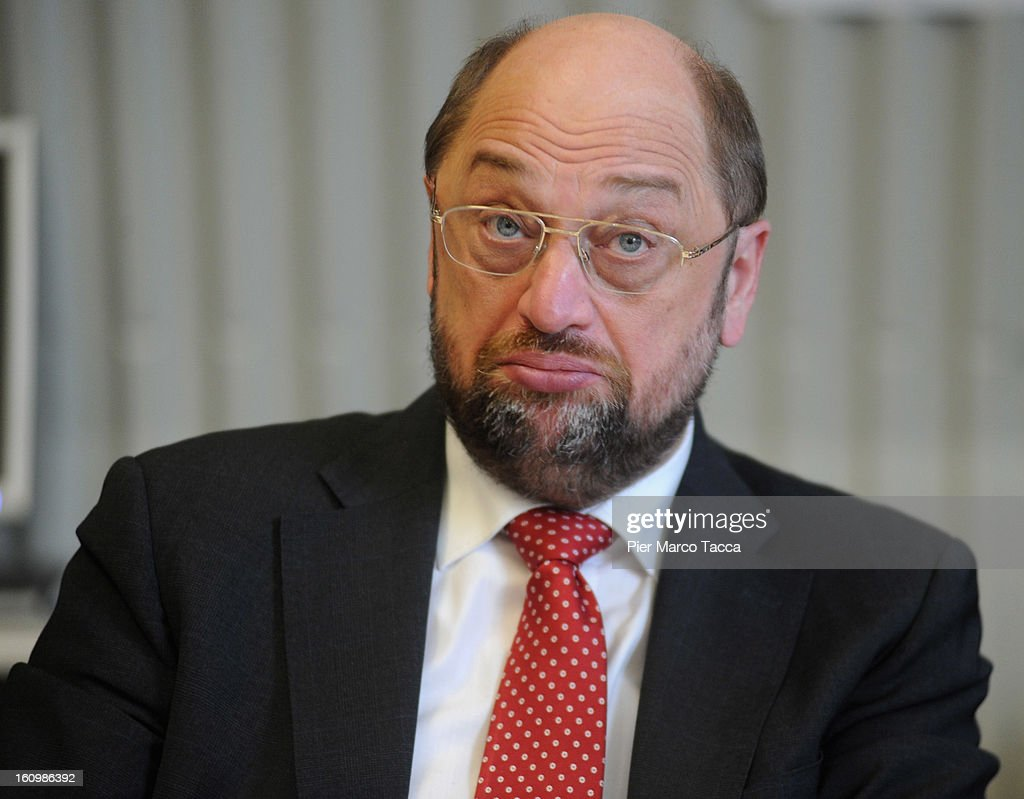Parliament President <a gi-track='captionPersonalityLinkClicked' href=/galleries/search?phrase=Martin+Schulz&family=editorial&specificpeople=598638 ng-click='$event.stopPropagation()'>Martin Schulz</a> attends a press conference before the visit to Caritas Ambrosiana shelter on February 8, 2013 in Milan, Italy. Caritas is a night refuge for the homeless and is situated under the platforms of the central station.
