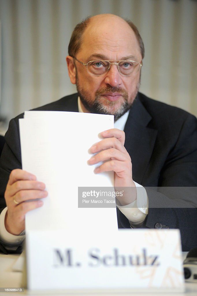 EU Parliament President <a gi-track='captionPersonalityLinkClicked' href=/galleries/search?phrase=Martin+Schulz&family=editorial&specificpeople=598638 ng-click='$event.stopPropagation()'>Martin Schulz</a> attends a press conference before the visit to Caritas Ambrosiana shelter on February 8, 2013 in Milan, Italy. Caritas is a night refuge for the homeless and is situated under the platforms of the central station.