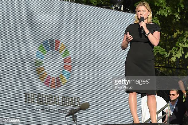 Parliament Secretary of State for International Development Justine Greening speaks on stage at the 2015 Global Citizen Festival to end extreme...