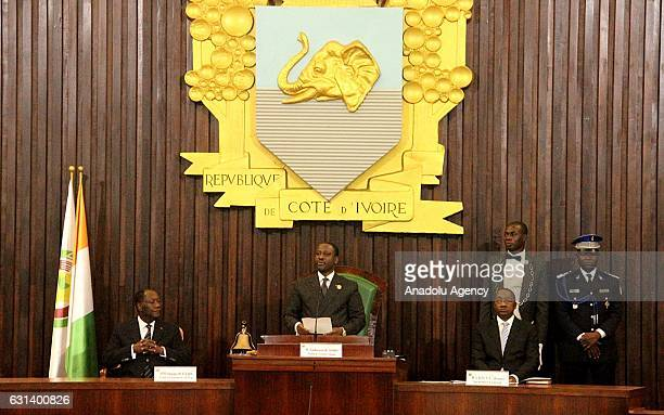 Parliament speaker Soro Guillaume chairs an extraordinary session in the parliament in Abidjan Ivory Coast on January 10 2017 Former Ivorian Prime...