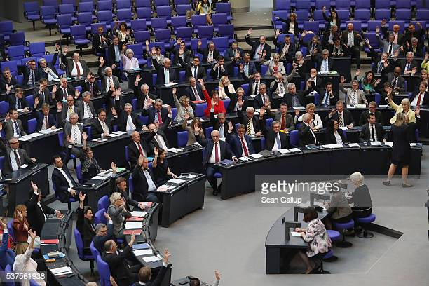 Parliamentarians at the Bundestag approve with a show of hands a resolution to recognize the 1915 Armenian genocide on June 2 2016 in Berlin Germany...