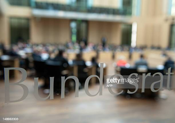 Parliamentarians attend a special sitting of the Bundesrat the upper house of parliament in Berlin on July 19 2012 German MPs are due to endorse an...