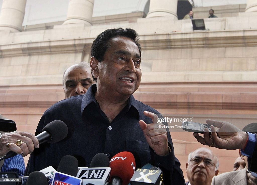 Parliamentary Affairs Minister Kamal Nath addressing media at Parliament House during the ongoing winter session on December 11, 2012 in New Delhi, India. India's parliament was disrupted for the second successive day as opposition lawmakers over Wal-Mart's discloser in U.S. senate that it has spent $25 million for lobbying activities in India.