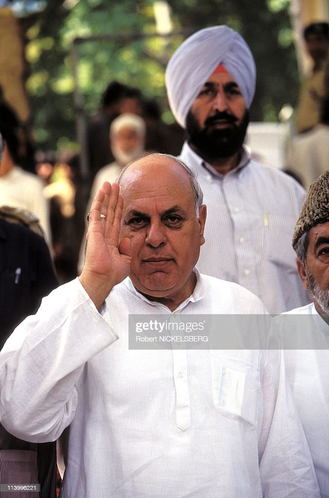 Parliamentary and State Elections in Kashmir In India In September, 1996-<a gi-track='captionPersonalityLinkClicked' href=/galleries/search?phrase=Farooq+Abdullah&family=editorial&specificpeople=2291127 ng-click='$event.stopPropagation()'>Farooq Abdullah</a>, former Kashmir Chief Minister.