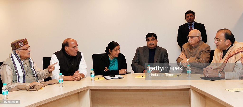BJP Parliamentary board meeting to elect Rajnath Singh as President at BJP Headquarter, on January 23, 2012 in New Delhi, India. Rajnath Singh succeeds Nitin Gadkari, who decided against contesting for a second term following charges of alleged corruption.