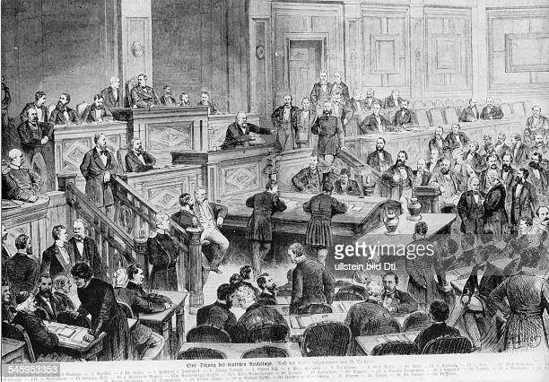 Parliamentary meeting of the German Reichstag from left chancellor Otto v BismarckWedellMalchow Wölfel DrLieberPresident Max v...
