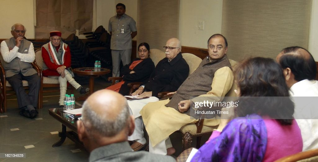 BJP Parliamentary party Chief LK Advani, opposition leader of Loksabha Sushma Swaraj, Opposition Leader of Rajya Sabha Arun Jaitly, Jaswant Singh and Murli Manohar Joshi, during the BJP Parliamentary party executive meeting before start parliament budget session 2013 at Advani Residence on February 19, 2013 in New Delhi, India.