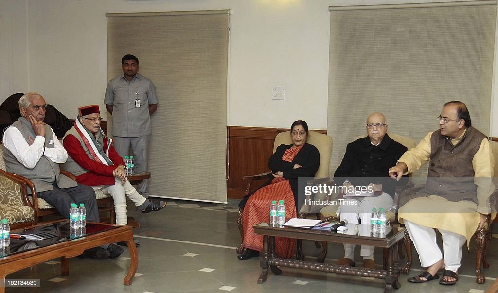 BJP Parliamentary party Chief LK Advani, opposition leader of Loksabha Sushma Swaraj, Opposition Leader of Rajya Sabha Arun Jaitly, Jaswant Singh and Murli Manohar Joshi, during the BJP Parliamentary party executive meeting before start of Parliament budget session 2013 at Advani's Residence on February 19, 2013 in New Delhi, India.