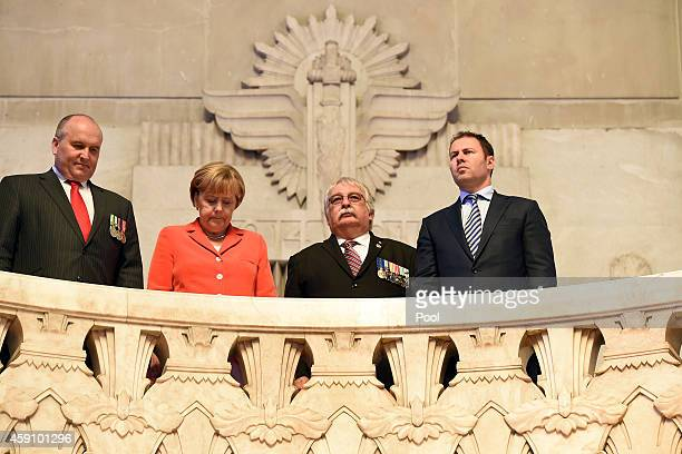 NSW Parliamentary Secretary David Elliott German Chancellor Angela Merkel NSW President of the RSL Don Rowe and Federal Minister Josh Frydenberg...