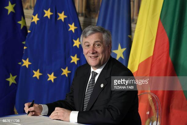 EU Parliaments president Antonio Tajani signs the new Rome declaration with leaders of 27 European Union countries special during a summit of EU...