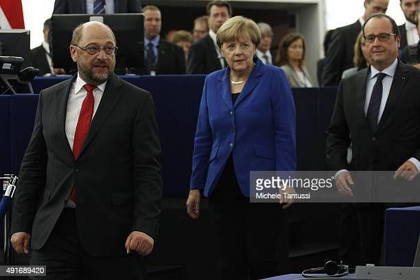 Parliament's President Martin Schulz Germany's Chancellor Angela Merkel and French president Francois Hollande arrive ahead of their joint speech to...