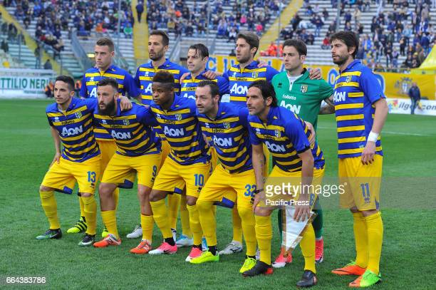 Parma Calcio 1913's team before the National Championship Lega Pro match between Parma Calcio 1913 and Maceratese at Tardini Stadium in Parma Parma...