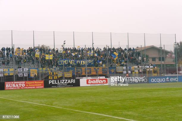 Parma Calcio fans shows their support during the Serie B match between AS Cittadella and Parma Calcio on November 12 2017 in Cittadella Italy