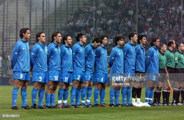06 OCT 2001 Parma Ennio Tardini Stadium World Cup 2002 Qualyfing Italy VS Hungary Italy team Shot Filippo Inzaghi Fabio Cannavaro Francesco Totti...