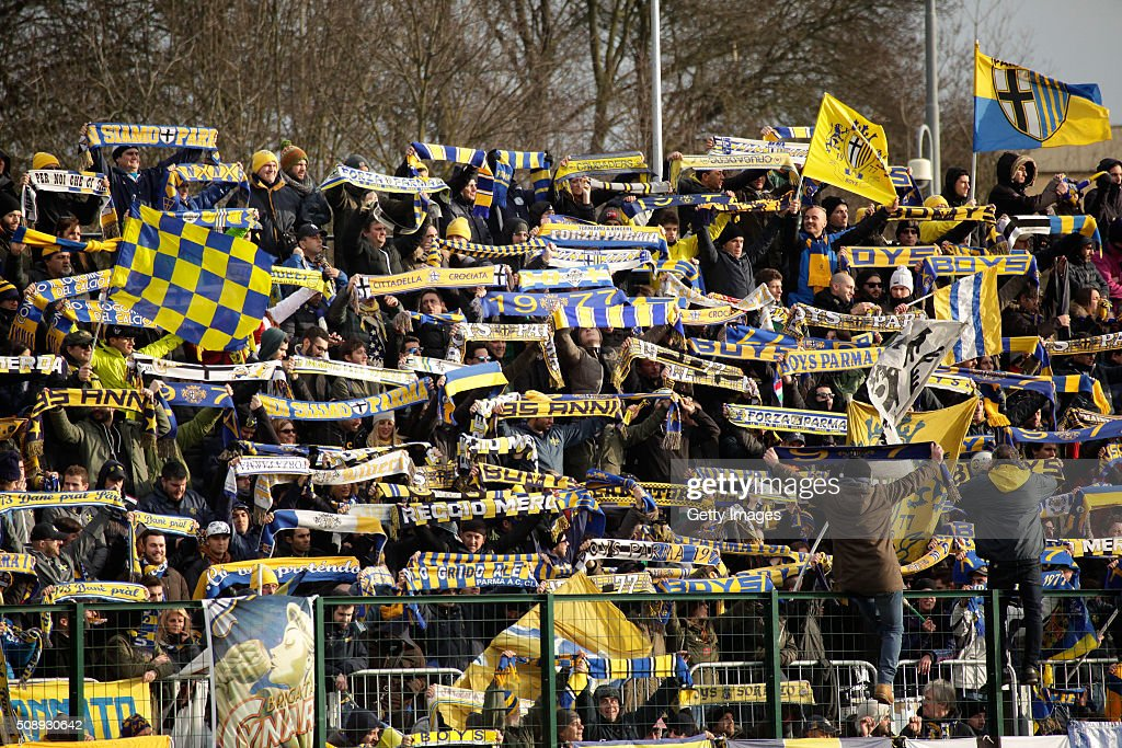Parma fans show their support during the Serie D match between Correggese Calcio and Parma Calcio 1913 on February 7, 2016 in Valdagno, Italy.