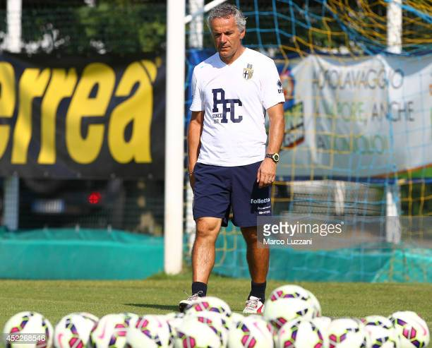 Parma FC coach Roberto Donadoni looks on during FC Parma Training Session at the club's training ground on July 16 2014 in Collecchio Italy