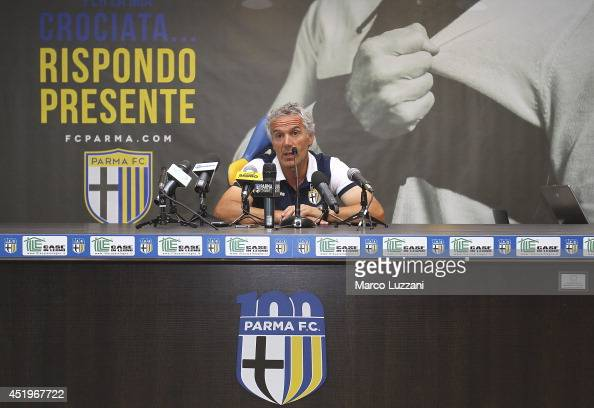 Parma FC coach Roberto Donadoni speaks to the media during a press conference at the club's training ground on July 10 2014 in Collecchio Italy