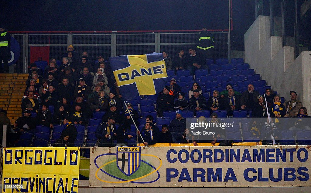 Parma FC fans support their team during the Serie A match between AS Roma and Parma FC at Stadio Olimpico on March 17, 2013 in Rome, Italy.