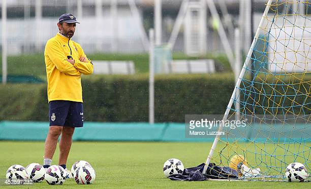 Parma FC goalkeeping coach Luca Bucci looks on during a FC Parma Training Session at the club's training ground on July 24 2014 in Collecchio Italy