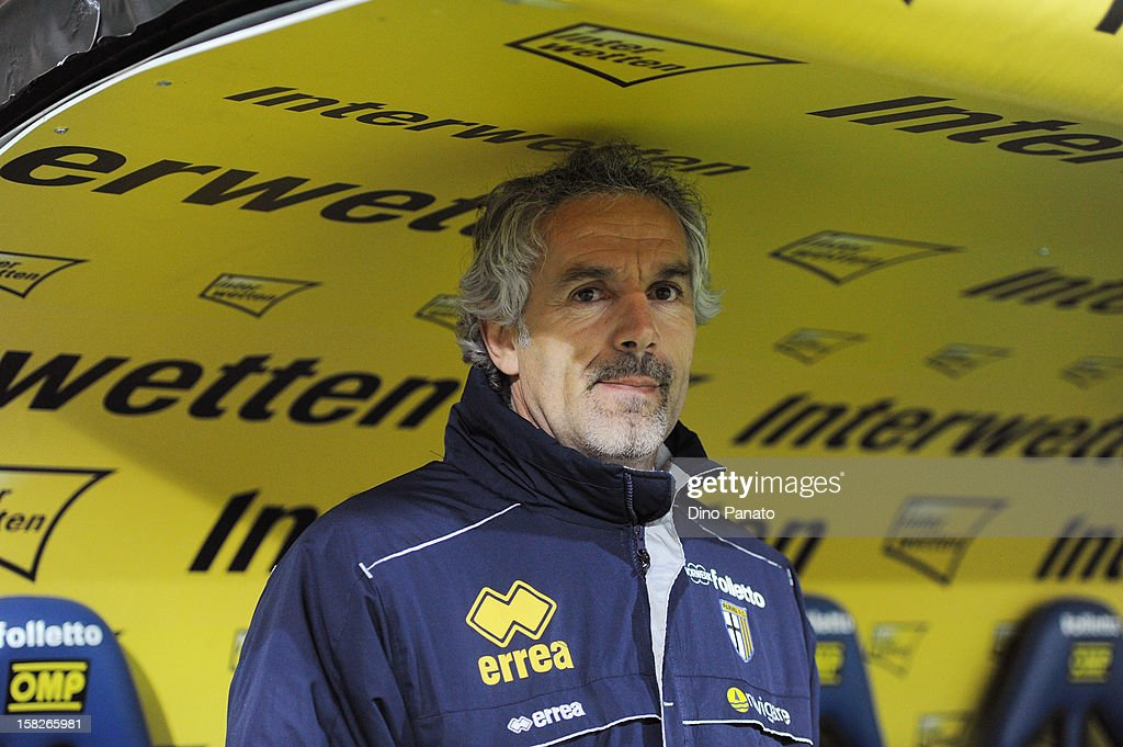 Parma FC head coach Roberto Donadoni looks on during the TIM Cup match between Parma FC and Catania Calcio at Stadio Ennio Tardini on December 12, 2012 in Parma, Italy.