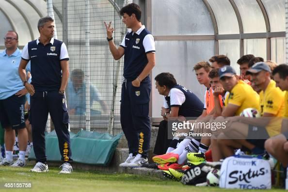 Parma FC juvenile head coach Hernan Crespo and assistant coach Gaetano Angelo Castellazzi during the juvenile match between Parma FC juvenile and...