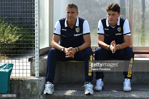 Parma FC juvenile head coach Hernan Crespo and assistant coach Gaetano Angelo Castellazzi sit on the bench prior to the juvenile match between Parma...