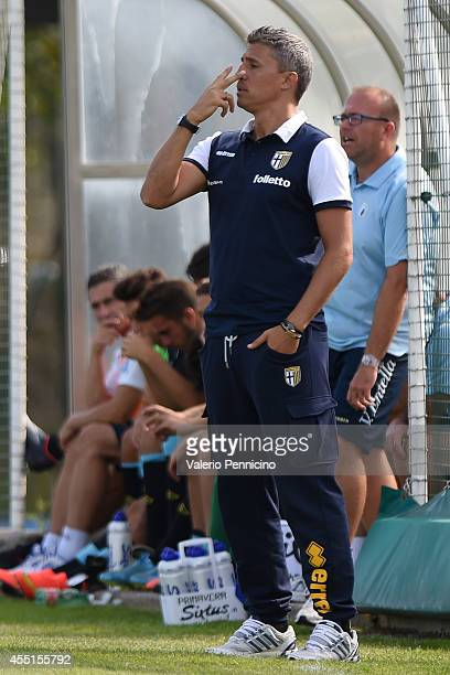 Parma FC juvenile head coach Hernan Crespo issues instructions during the juvenile match between Parma FC juvenile and Virtus Entella juvenile on...
