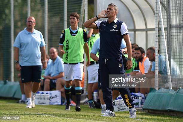 Parma FC juvenile head coach Hernan Crespo shouts to his players during the juvenile match between Parma FC juvenile and Virtus Entella juvenile on...