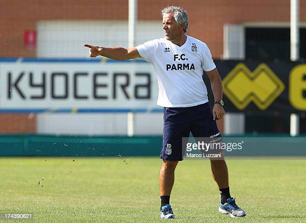 Parma FC manager Roberto Donadoni gestures during FC Parma Training Session at the club's training ground on July 25 2013 in Collecchio Italy