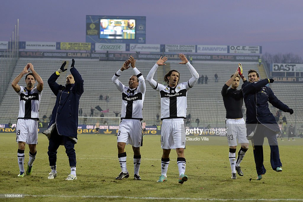 Parma FC players celebrate victory at the end the Serie A match between Parma FC and US Citta di Palermo at Stadio Ennio Tardini on January 6, 2013 in Parma, Italy.