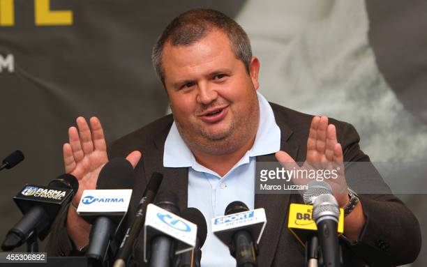 Parma FC President Tommaso Ghirardi speaks to the media during a press conference at the club's training ground on September 12 2014 in Collecchio...
