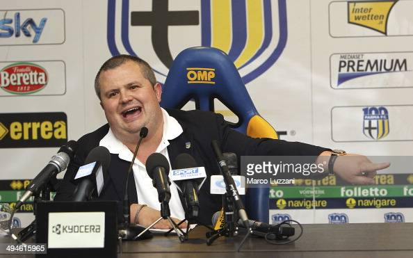 Parma FC President Tommaso Ghirardi speaks to the media during a press conference at the club's training ground on May 30 2014 in Collecchio Italy