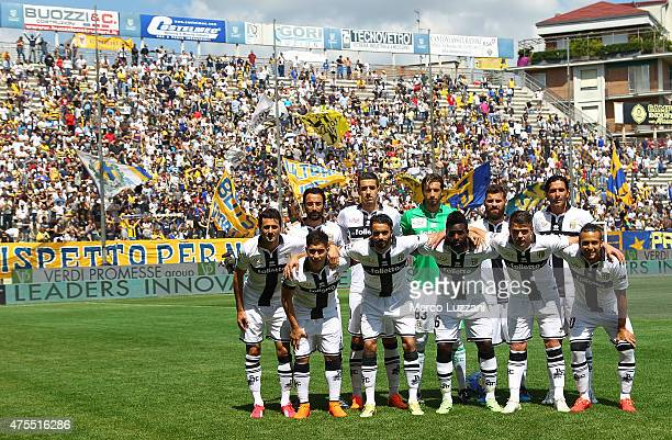 Parma FC team line up before the Serie A match between Parma FC and Hellas Verona FC at Stadio Ennio Tardini on May 24 2015 in Parma Italy