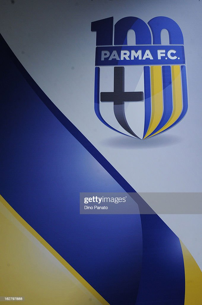 Parma FC's centenery logo is unveiled at Stadio Ennio Tardini on February 27, 2013 in Parma, Italy.