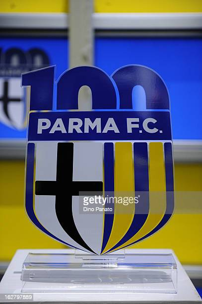 Parma FC's centenery logo is unveiled at Stadio Ennio Tardini on February 27 2013 in Parma Italy