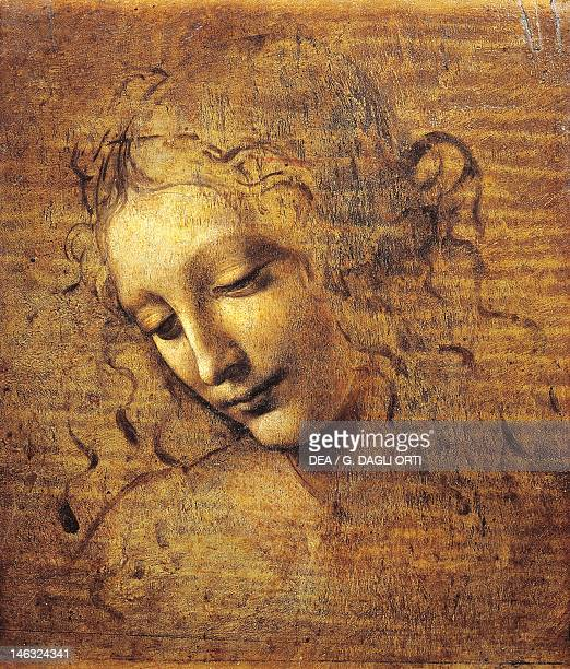 Parma Galleria Nazionale Palazzo Della Pilotta The Head of a Woman known as La Scapigliata ca 1508 by Leonardo da Vinci earth shadow amber and white...