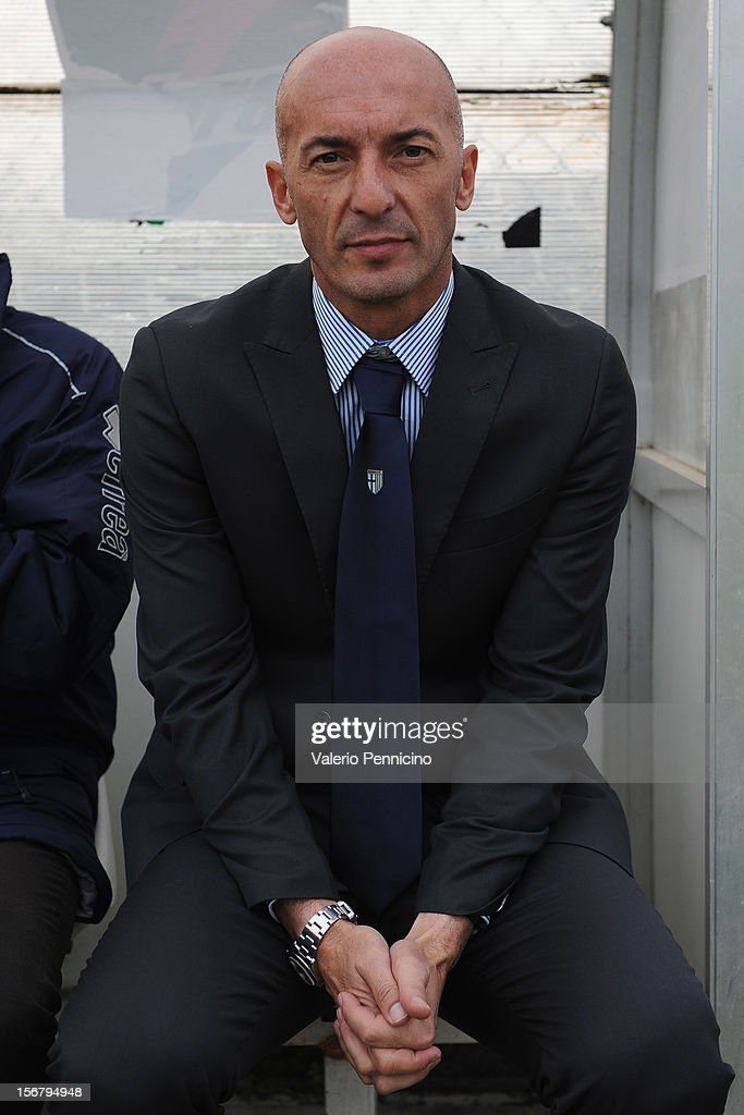 FC Parma head coach Pizzi sits on the bench prior to the Juvenile match between Juventus FC and FC Parma at Juventus Center Vinovo on November 21, 2012 in Vinovo, Italy.