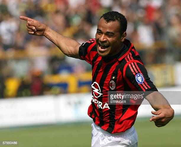 AC Milan's Cafu celebrates after scoring a goal against Parma during their serie A football match ParmaAC Milan at Tardini stadium in Parma 07 May...