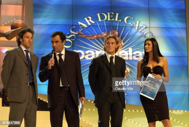 03 SEP 2001 Parma Oscar Del Calcio Parmalat Alessandro Del Piero of Juventus Sandro Piccinini Francesco Totti of Roma and Luisa Corna