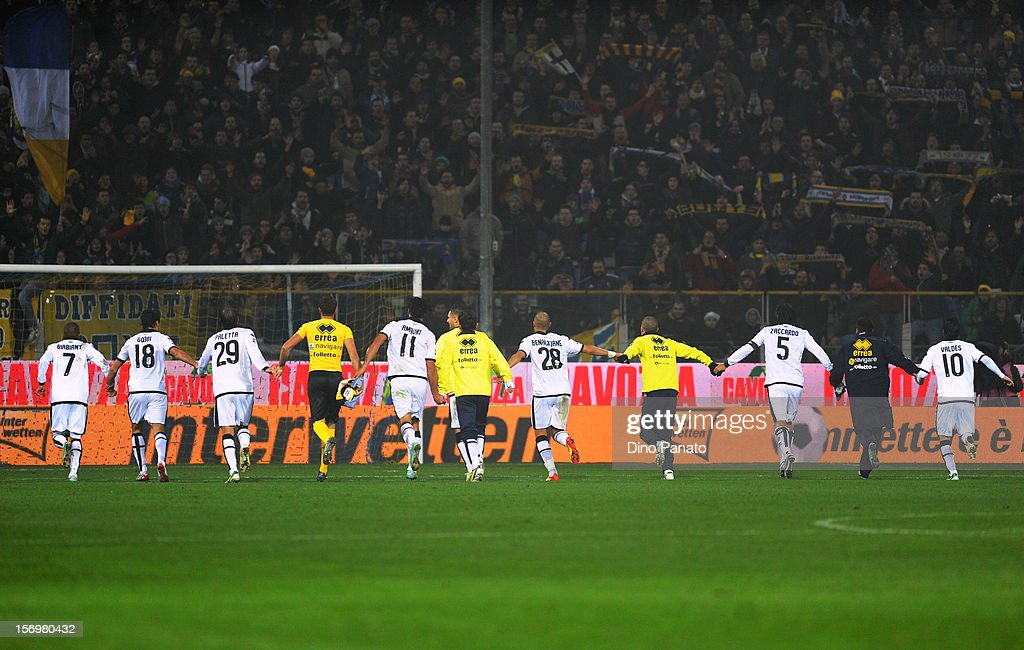 Parma players celebrate victory after the Serie A match between Parma FC and FC Internazionale Milano at Stadio Ennio Tardini on November 26, 2012 in Parma, Italy.