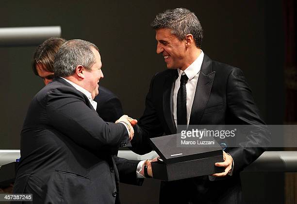 FC Parma President Tommaso Ghirardi and Hernan Crespo attend the FC Parma 100 years Anniversary at Teatro Regio on December 16 2013 in Parma Italy