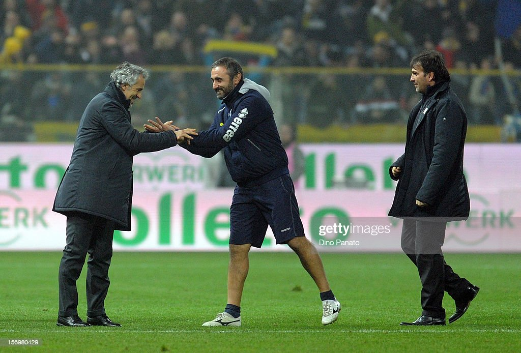 Parma Roberto Donadoni celebrates victory with after the Serie A match between Parma FC and FC Internazionale Milano at Stadio Ennio Tardini on November 26, 2012 in Parma, Italy.